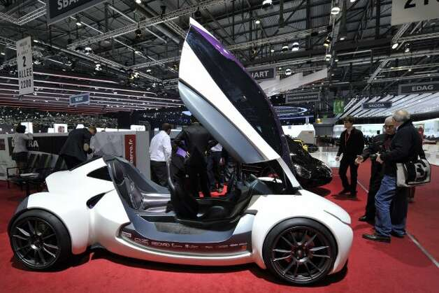 The new Sbarro Montbeliard Electrosport car is shown during the press day at the Geneva International Motor Show in Geneva, Switzerland, Tuesday, March 6, 2012. The Motor Show will open its gates to the public from March 8 to 18, presenting more than 260 exhibitors and more than 180 world and European premieres. (AP Photo/Keystone, Martial Trezzini) (AP)