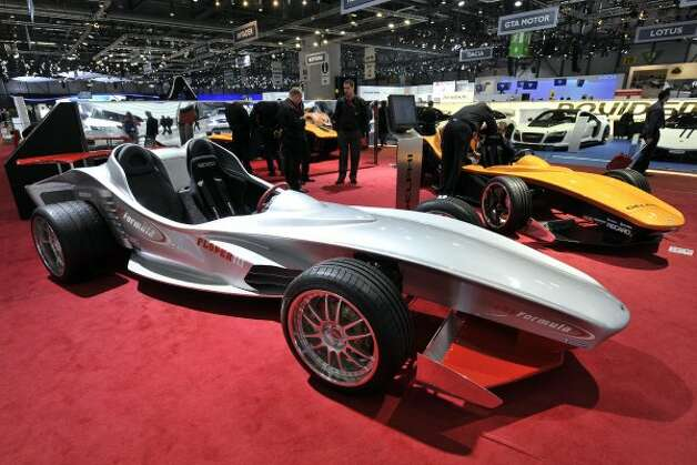 The new Sbarro Floper III car is shown during the press day at the Geneva International Motor Show in Geneva, Switzerland, Tuesday, March 6, 2012. The Motor Show will open its gates to the public from March 8 to 18, presenting more than 260 exhibitors and more than 180 world and European premieres. (AP Photo/Keystone, Martial Trezzini) (AP)