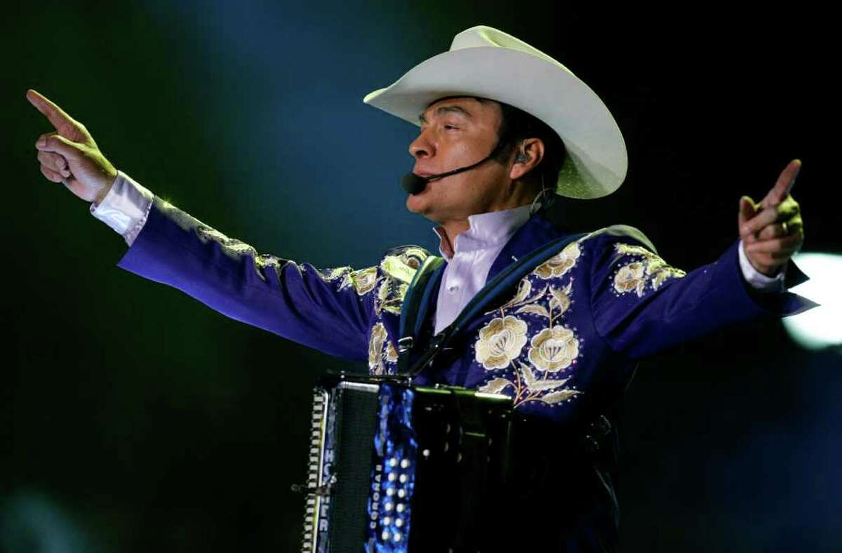Accordion player Jorge Hernandez, of the Mexican band Tigres del Norte, performs during an ALAS, Latin America in Solidarity Action, Foundation concert in Mexico City, Saturday, May 17, 2008. More than 20 Latin American pop stars were featured in two simultaneous concerts in Mexico and Argentina Saturday to raise money for impoverished children in Latin America.