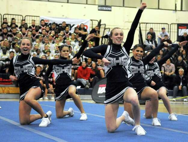 Staples performs its routine at the FCIAC championships Feb. 4. The Lady Wreckers finished tied for seventh with New Canaan at the Class LL championships Saturday, their best finish in Class LL this millennium. Photo: Lindsay Niegelberg, Lindsay Niegelberg/Staff Photographer / Stamford Advocate