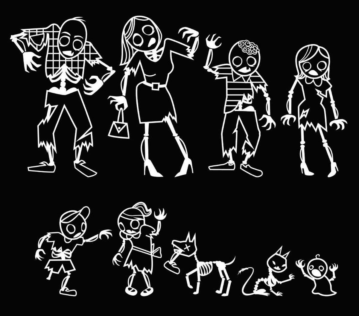 Zombie Family Car Stickers by GAMAGO.