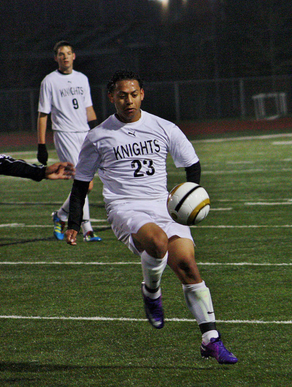 The Knights' Jonathan Medina (23) maintains possession of the ball late in Steele's Friday win over Seguin.