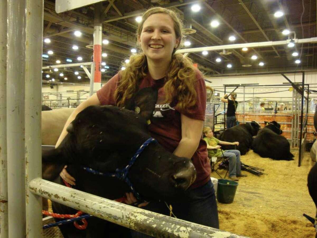 Clear Creek High School junior Michaela Pinder and her Brangus steer, Mojo