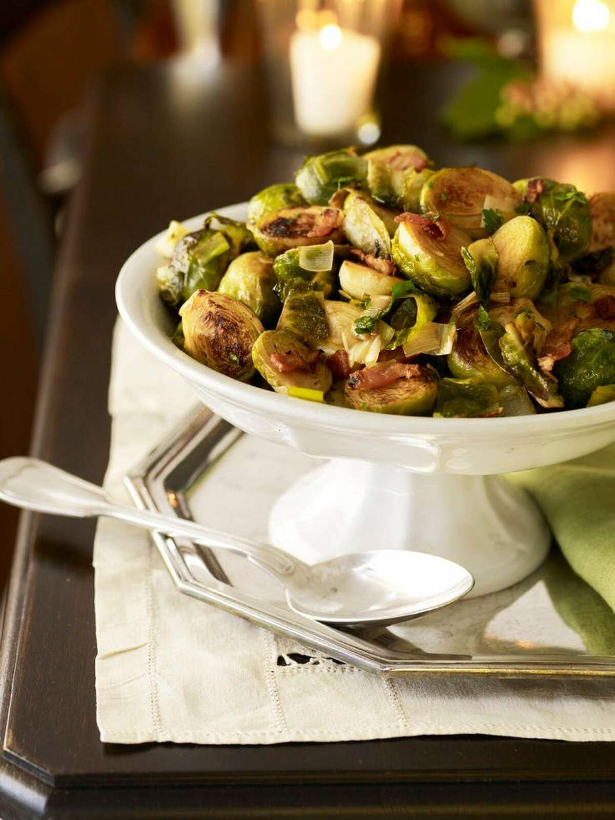 Good Housekeeping recipe for Brussels Sprouts with Leeks and Bacon.