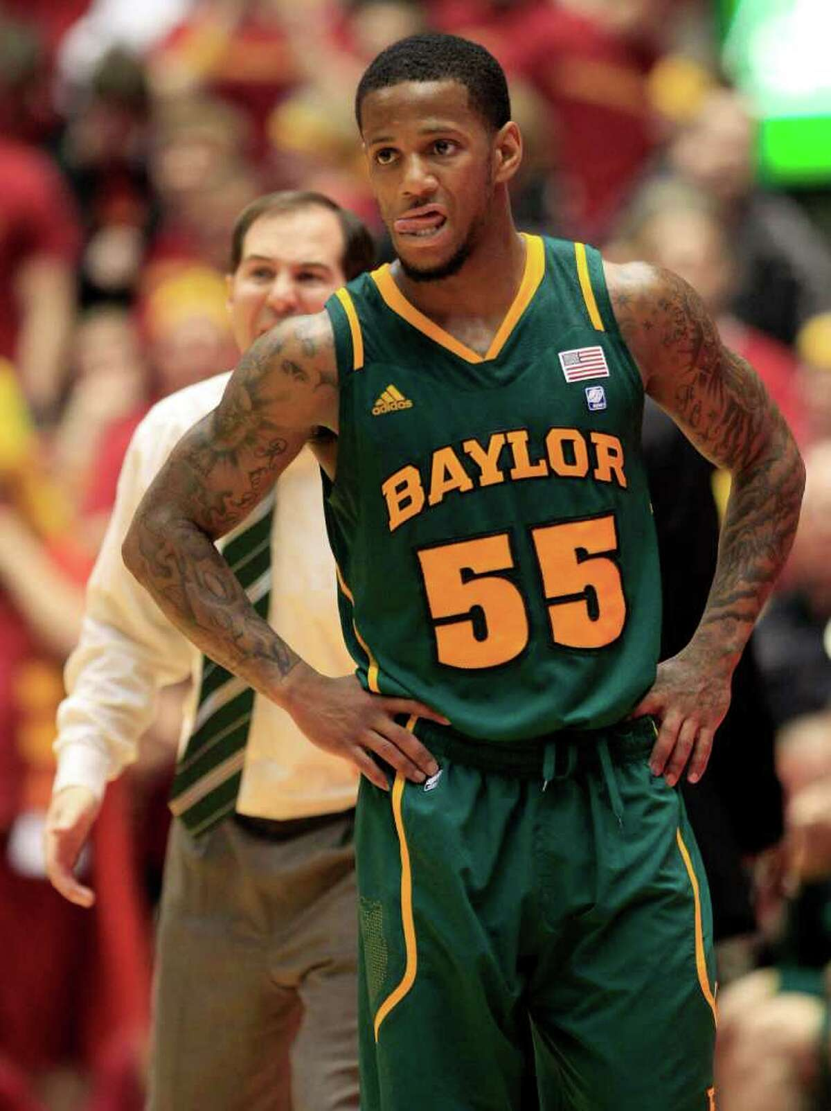 Baylor guard Pierre Jackson looks on during the second half of an NCAA college basketball game against Iowa State, Saturday, March 3, 2012, in Ames, Iowa. Iowa State won 80-72.