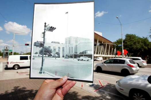 The corner of Bagby and Walker, where the Hobby Center for the Performing Arts stands Monday, Aug. 8, 2011, in Houston. The inset photo is the Sam Houston Coliseum which opened in 1937 and was demolished in 1998. ( Nick de la Torre / Houston Chronicle ) Photo: Nick De La Torre / © 2010 Houston Chronicle