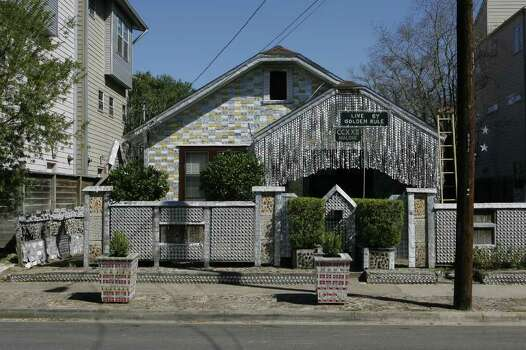 Houston's Beer Can House, one of the city's best-known folk art venues, is getting ready to reopen after being closed for refurbishing. (Sunday, Feb. 24, 2008, in Houston. ( Steve Campbell / Chronicle) Photo: Steve Campbell / Houston Chronicle