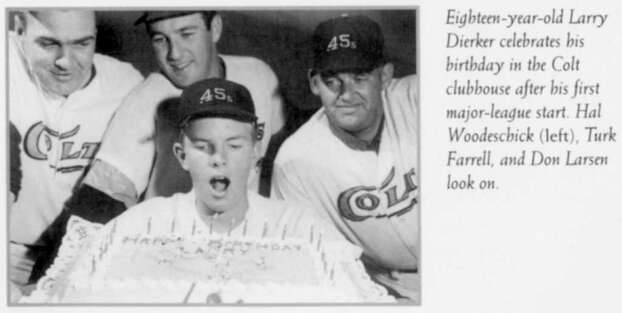 (scan from book)  Larry Dierker celebrates his 18th birthday w/ the Houston Colt .45s Hal Woodeschick, Turk Farrell and Don Larsen from book A Six-gun Salute by Robert Reed HOUCHRON CAPTION (08/01/1999):  In this photo from A Six-Gun Salute, Larry Dierker, now manager of the Houston Astros, celebrates his 18th birthday Sept. 22, 1964, after his first major-league start, as a pitcher for the Colt .45s. With him are, from left, Hal Woodeschick, Turk Farrell and Don Larsen. / handout book scan