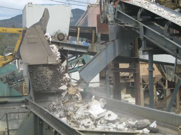 "Toilets are crushed to make ""poticrete"" an aggregate mix containing 20 percent toilets for sidewalks in Bellingham. Photo: City Of Bellingham"