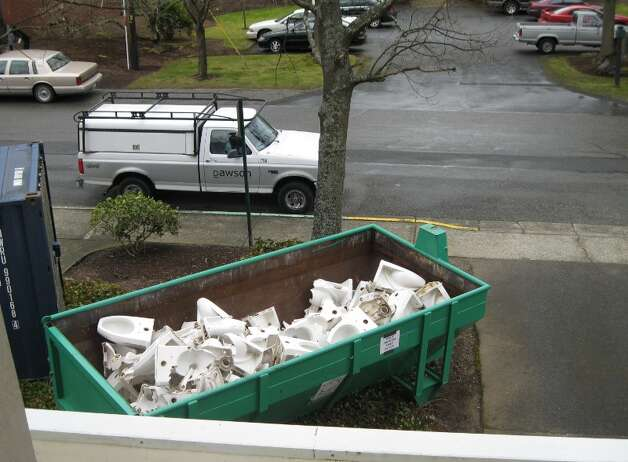 "Bellingham recycled 400 toilets into ""poticrete,"" an aggregate mix containing 20 percent toilets for sidewalks. Photo: City Of Bellingham"