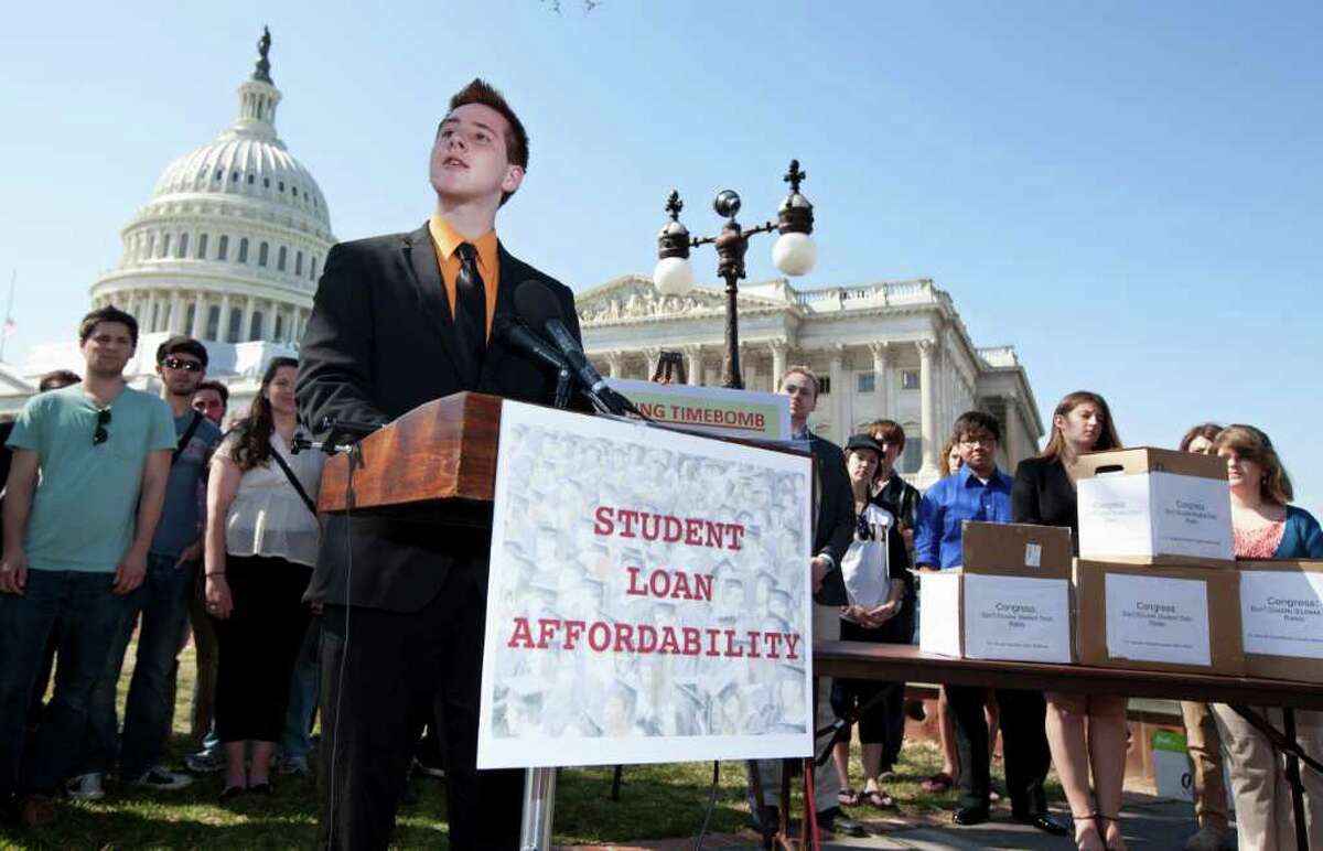 Northern Arizona University freshman Tyler Dowden, 18, speaks during a news conference on Capitol Hill in Washington, Tuesday, March 13, 2012, to announce the collection of over 130,000 letters to Congress to prevent student loan interest rates from doubling this July. Millions of college students could be in for a big surprise. The interest rate on a popular federally subsidized student loan doubles in July unless Congress acts. (AP Photo/Manuel Balce Ceneta)