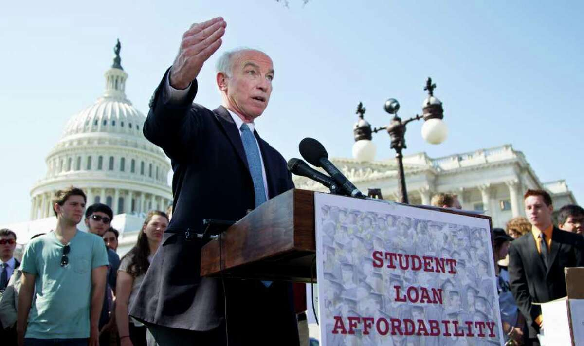 Rep. Joe Courtney, D-Conn., joins students impacted by the rate hike, US PIRG, Rebuild the Dream, Campus Progress and the United States Student Association, to announce the collection of over 130,000 letters to Congress to prevent student loan interest rates from doubling this July, Tuesday, March 13, 2012, during a news conference on Capitol Hill in Washington. (AP Photo/Manuel Balce Ceneta)