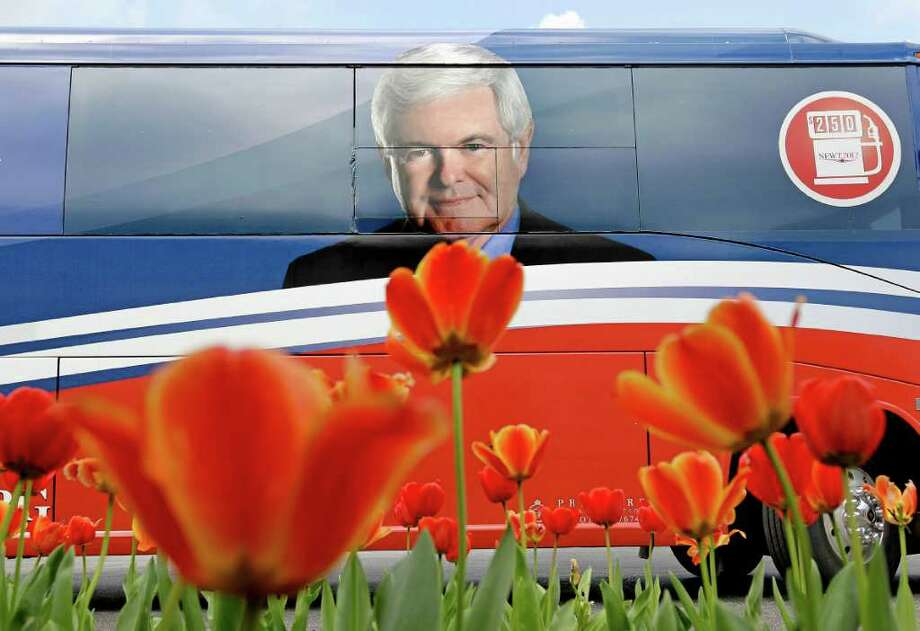 The tour bus of Republican presidential candidate former House Speaker Newt Gingrich waits for his return outside a campaign event, Tuesday, March 13, 2012, in Vestavia Hills, Ala. Photo: David Goldman, Associated Press / AP