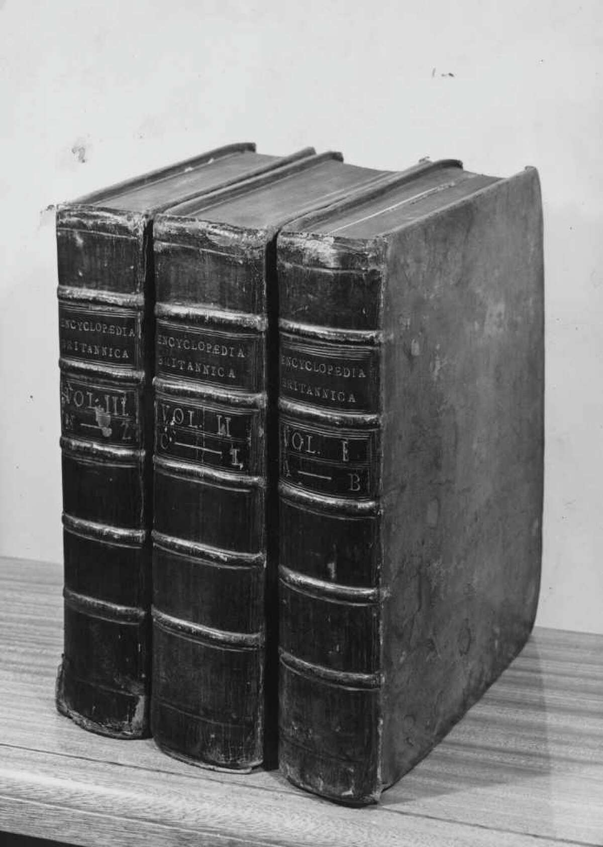 The first edition of the Encyclopaedia Britannica, in three volumes, photographed in 1946. With only 4,000 sets left, Encyclopaedia Britannica President Jorge Cauz said the final print run will be as rare as the first edition, McClatchy reported.