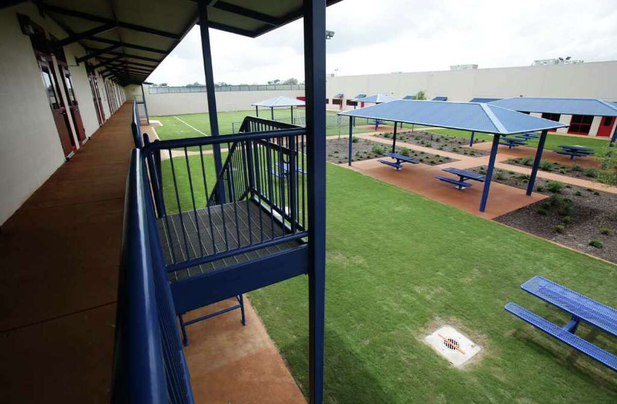 The Karnes County Civil Detention Center includes a courtyard with a soccer field, basketball courts and other recreation areas.