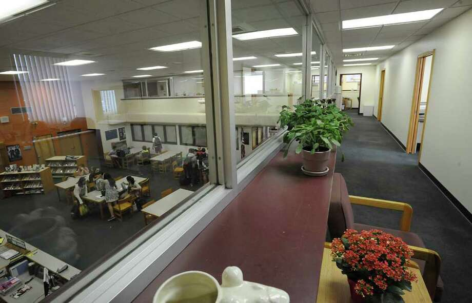 Offices in the mezzanine above the library at Bethlehem High School March 13, 2012 in Delmar, N.Y.  In this area the district?s chief business and financial officer, treasurer, human resources department and payroll staff all moved in here in December from 90 Adams Place. (Lori Van Buren / Times Union) Photo: Lori Van Buren