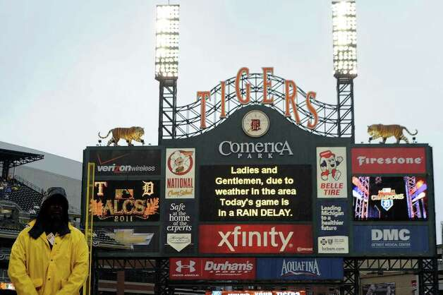 Two massive tiger statues atop the scoreboard at Comerica Park in Detroit, home of the Detroit Tigers, are being refurbished in Milford, Conn. Photo: Getty Images