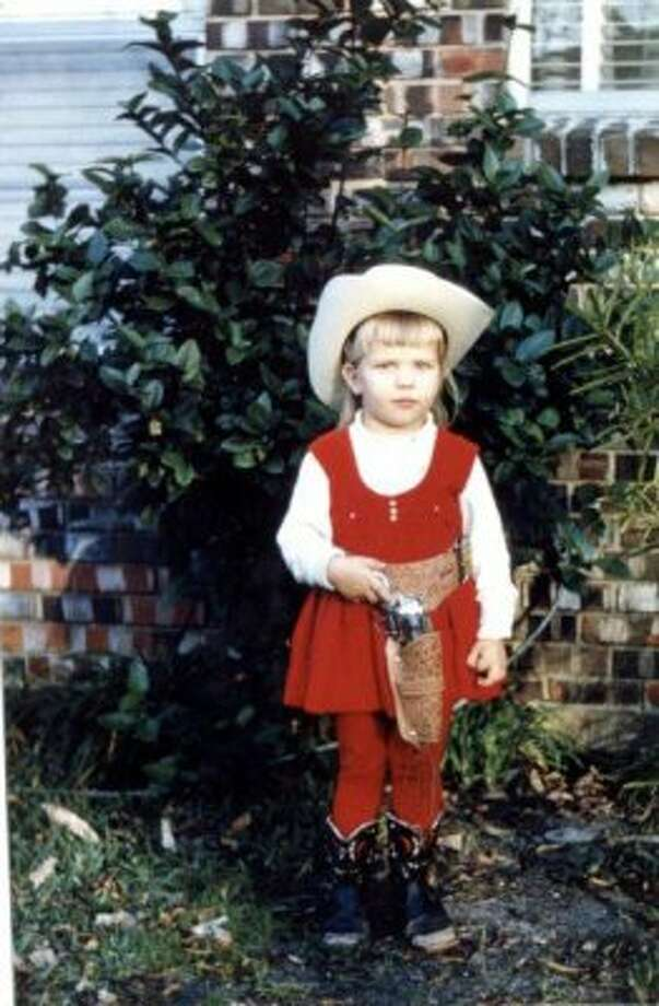 Houston school children, like Melissa Ward at Red Elementary, dressed up for Go Texan Day in the '60s.