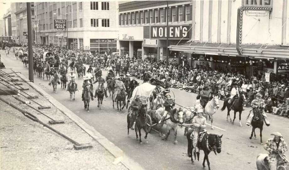 A 1958 photo of the Houston Livestock Show and Rodeo Parade.