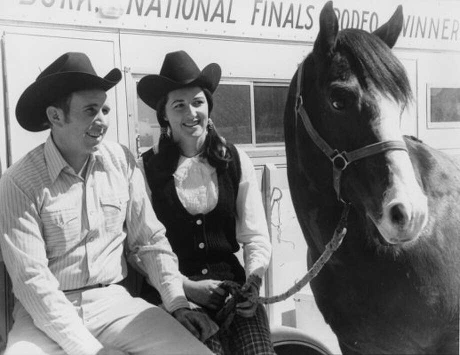 Joyce and Barry Burk take a breather between rodeo shows. (03/05/1971) (OTHELL O. OWENSBY JR. / HOUSTON CHRONICLE)