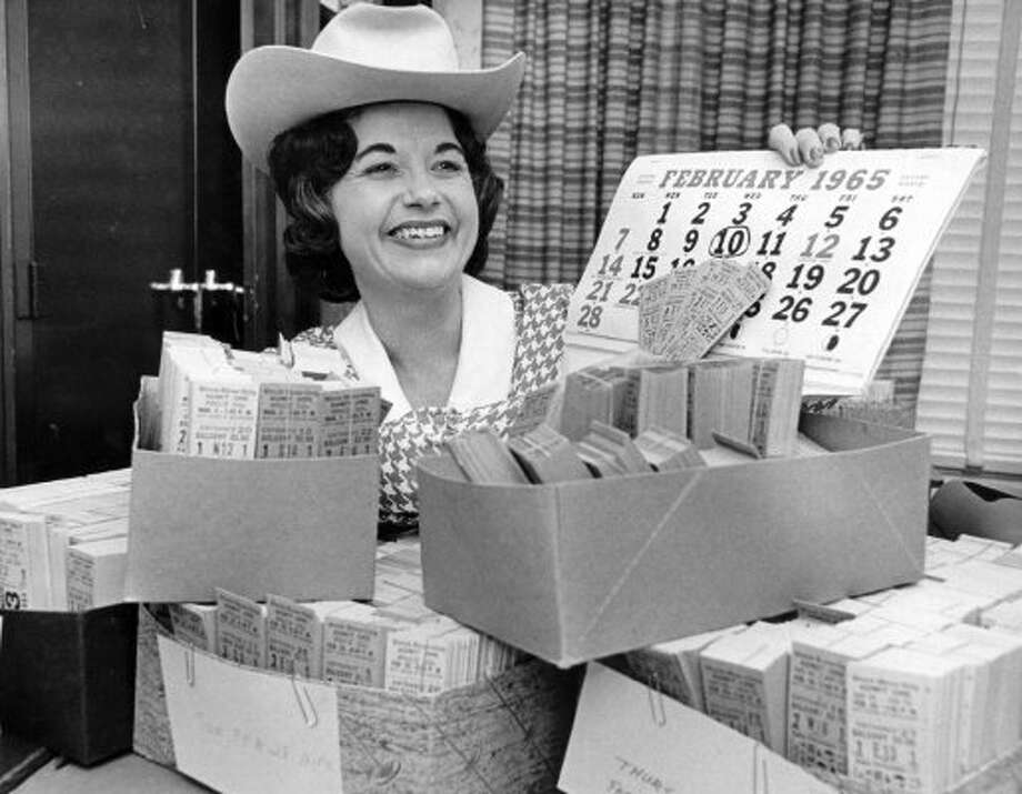 Mrs. Billie Thomas, assistant director of rodeo ticket sales. (01/24/1965) (CURTIS MCGEE / HOUSTON CHRONICLE)