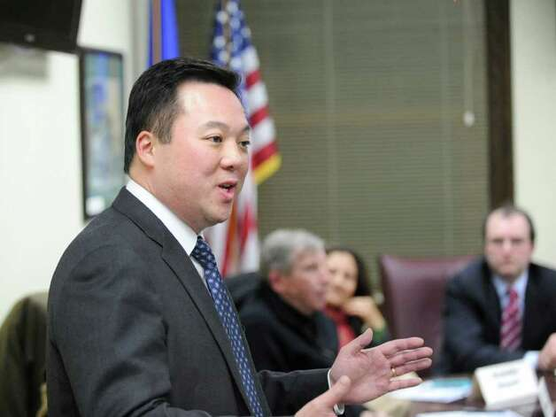 Democratic Senate candidate William Tong speaks to the New Canaan Democratic Town Committee at New Canaan Town Hall Tuesday night, March 6, 2012. Tong spoke to the group to ask for support in the upcoming nominating conventions. Photo: Bob Luckey / Greenwich Time