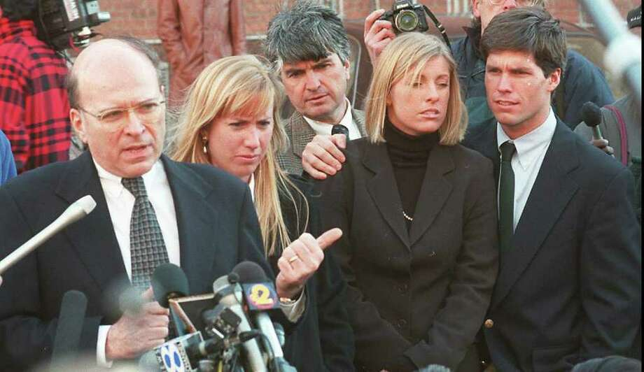 Thomas Puccio attorney for Alex Kelly speaking to the press after  the  first trial ended in a hung jury in 1996. Beside Puccio is Hope  Seeley, Joseph Kelly , Amy Molitar and Alex Kelly. Puccio died Monday, March 12, 2012 of leukemia in New Haven, Conn. He was 67. Photo: File Photo