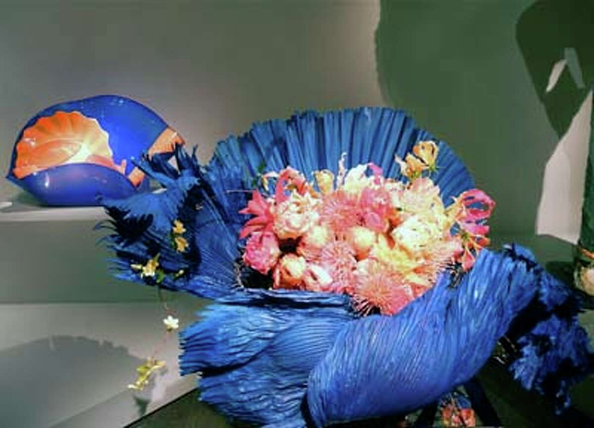 "Dale Chihuly's ""Ultramarine Stemmed Form with Orange"" interpreted by Waterlily Pond Floral Design Studio's Natasha Lisitsa, Daniel Swartz and Carla Parkinson (Catherine Bigelow)"