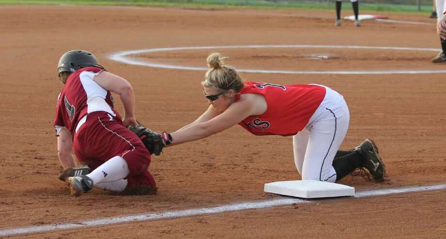 Brianna Presley is tagged out going to third base during Jasper's 2-0 win over Kirbyville. Photo: Jason Dunn