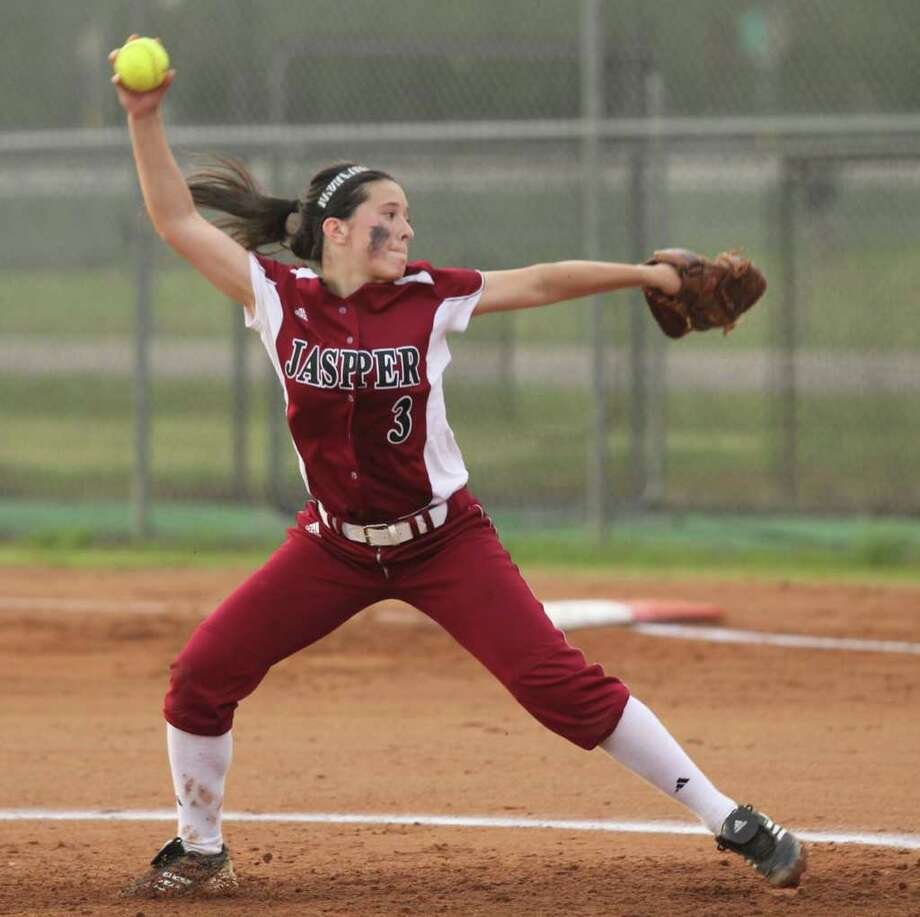 Brooke Garcia fires a pitch home against Kirbyville. Photo: Jason Dunn