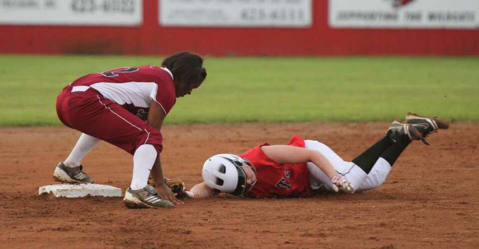 Shawneece Jones puts a tag down against Kirbyville at second base.