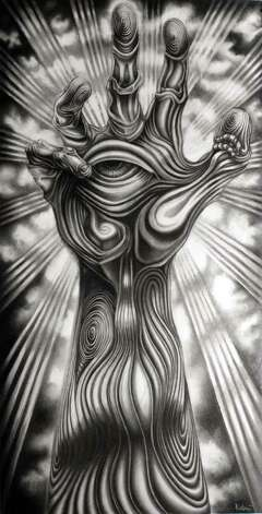 "San Antonio artist Alex Rubio's ""Mano de Dios (Hand of God)"" is featured in the statewide drawing survey ""Texas Draws II"" at the Southwest School of Art. Photo: Courtesy Of The Artist"