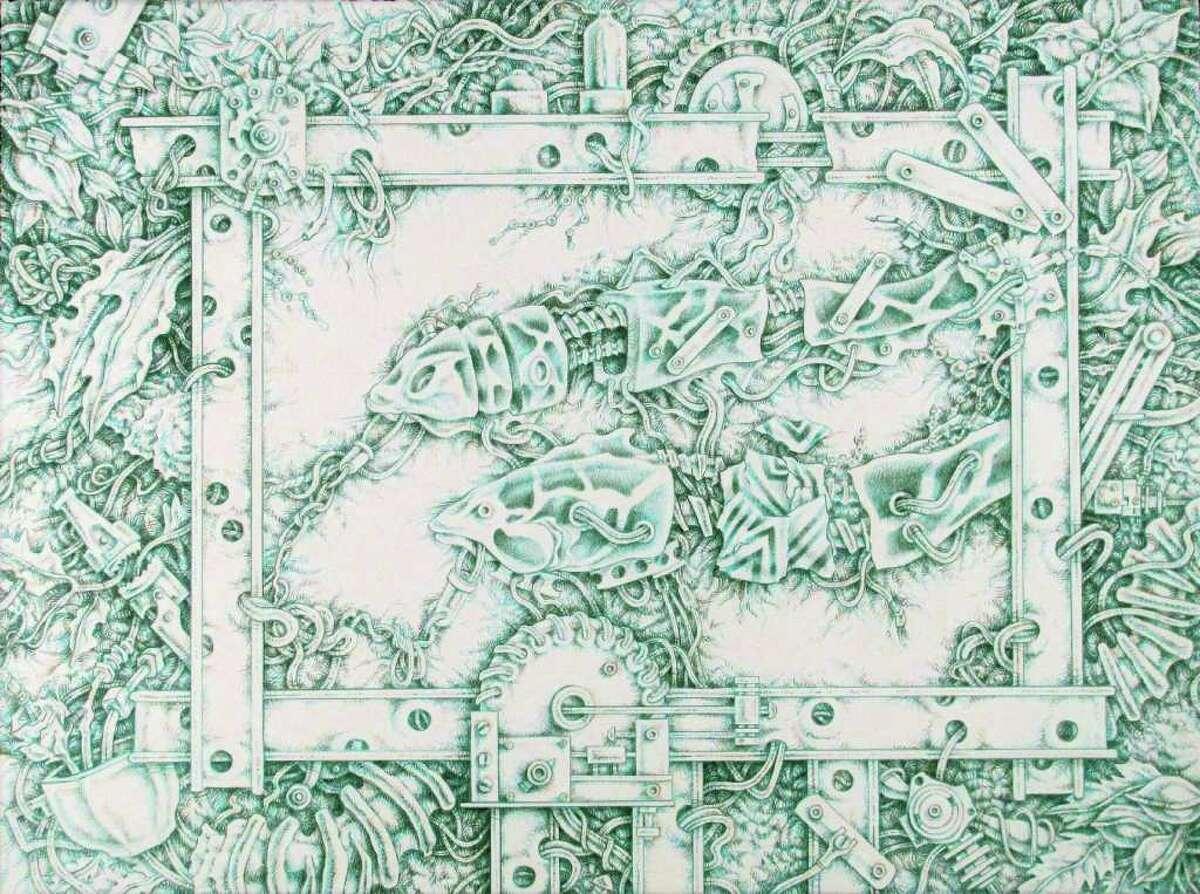 Lubbock artist Terry Morrow has four meticulous drawings in