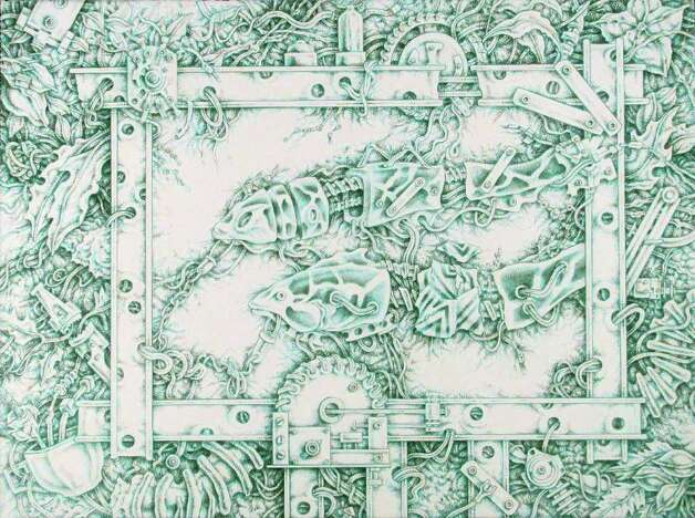 "Lubbock artist Terry Morrow has four meticulous drawings in ""Texas Draws II"" at the Southwest School of Art, including ""Professor Lockheed's Aquarium #1."" Photo: Courtesy Of The Artist"