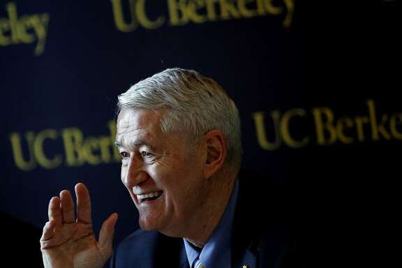 UC Berkeley chancellor Robert Birgeneau discusses the details of  new tuition help for middle class families during a press conference announcing the assistance in Berkeley, Calif., Wednesday, December 14, 2011.