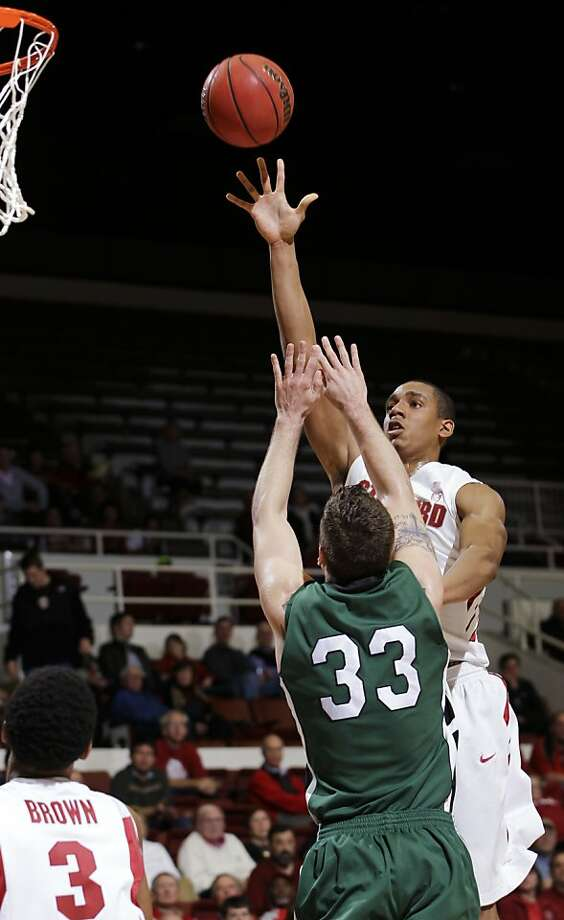 Stanford forward Josh Owens (13) scores over Cleveland State forward Tim Kamczyc (33) in the first half of a first-round college basketball game in the NIT, Tuesday, March 13, 2012, in Stanford, Calif. Photo: Paul Sakuma, Associated Press