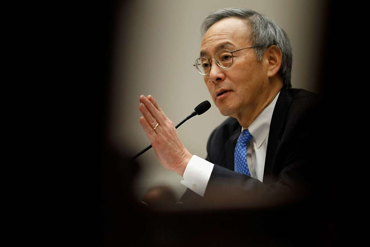 """Energy Secretary Steven Chu testifies before the House Energy and Commerce Committee's Oversight and Investigations Subcommittee hearing about the government support for the failed solar panel company Solyndra on Capitol Hill November 17, 2011 in Washington, DC. Chu said """"the final decisions on Solyndra were mine."""" The Energy Department provided the California maker of solar panels with a $535 million loan guarantee and refinancing before it went bankrupt in August 2011."""
