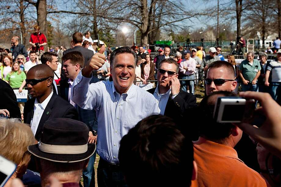 Republican presidential candidate, former Massachusetts Gov. Mitt Romney greets supporters during a campaign stop at Kirkwood Park March 13, 2012 in Kirkwood, Missouri. As the race for delegates continues, voters in Alabama and Mississippi will cast their ballots in their primaries today. Photo: Whitney Curtis, Getty Images