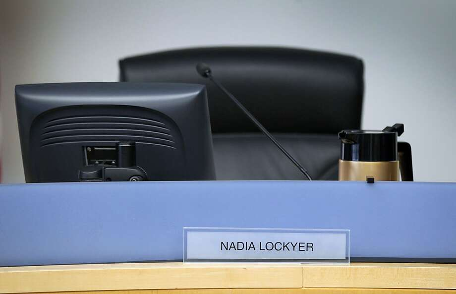 Nadia Lockyer's seat on the Alameda County Board of Supervisors has sat empty since she entered a rehab facility last month, following an altercation in a Newark hotel room. She last took part in a regular board meeting Nov. 1. Photo: Lance Iversen, The Chronicle
