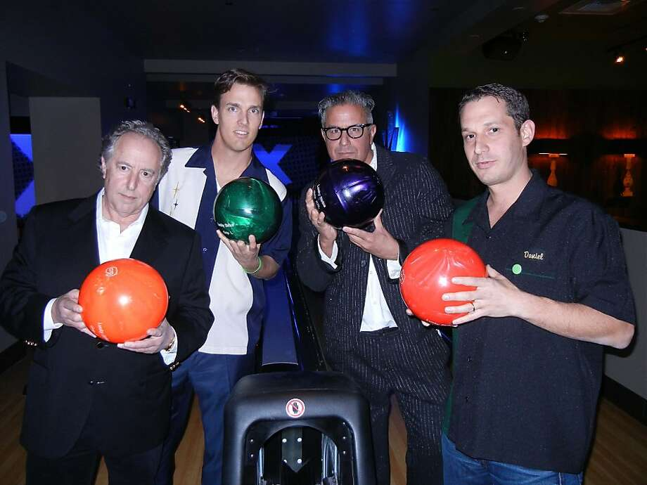 Lucky Strike owner Steven Foster (at left) with Tipping Point Board President Alec Perkins, designer Ray Azoulay and Tipping Point founder Daniel Lurie at the Lucky Strike opening. March 2012. By Catherine Bigelow. Photo: Catherine Bigelow, Special To The Chronicle