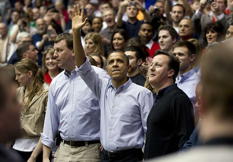 President Barack Obama and Britain Prime Minister David Cameron attend the Mississippi Valley State games against Western Kentucky in a first round NCAA tournament basketball game, Tuesday, March 13, 2012, at University of Dayton Arena, in Dayton, Ohio. Photo: Carolyn Kaster, Associated Press