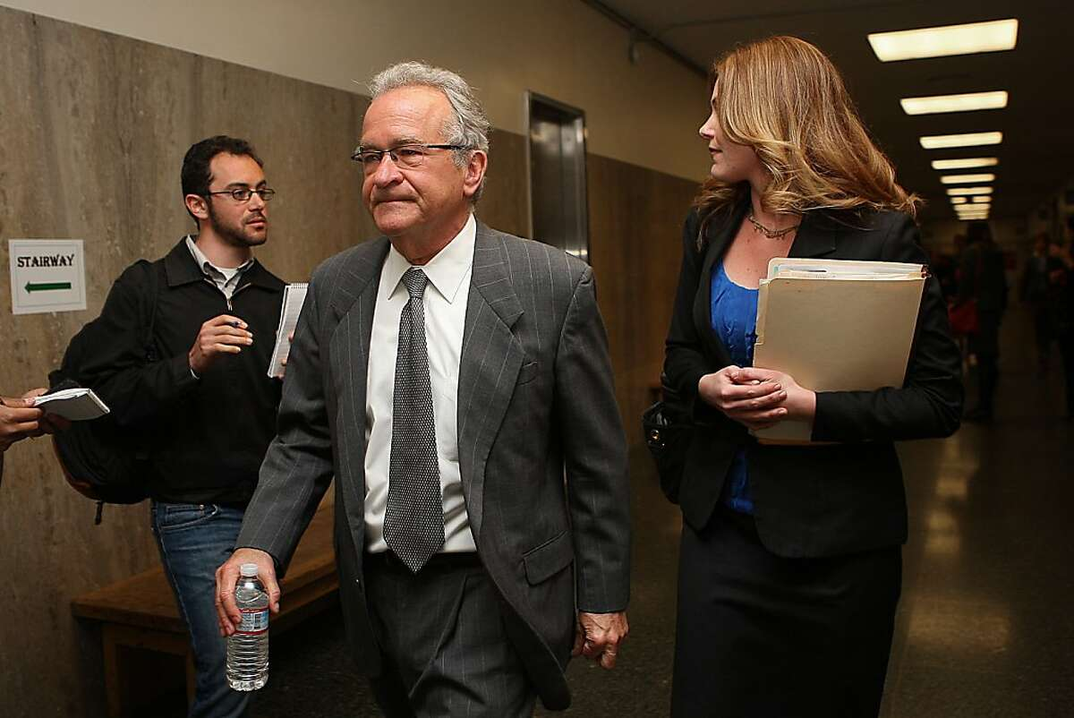 Colburn Cherney (middle), husband of victim Dionette Cherney, with his lawyer Sarah Hawkins (right) in San Francisco Calif., on Monday, March 12, 2012, after the trial.