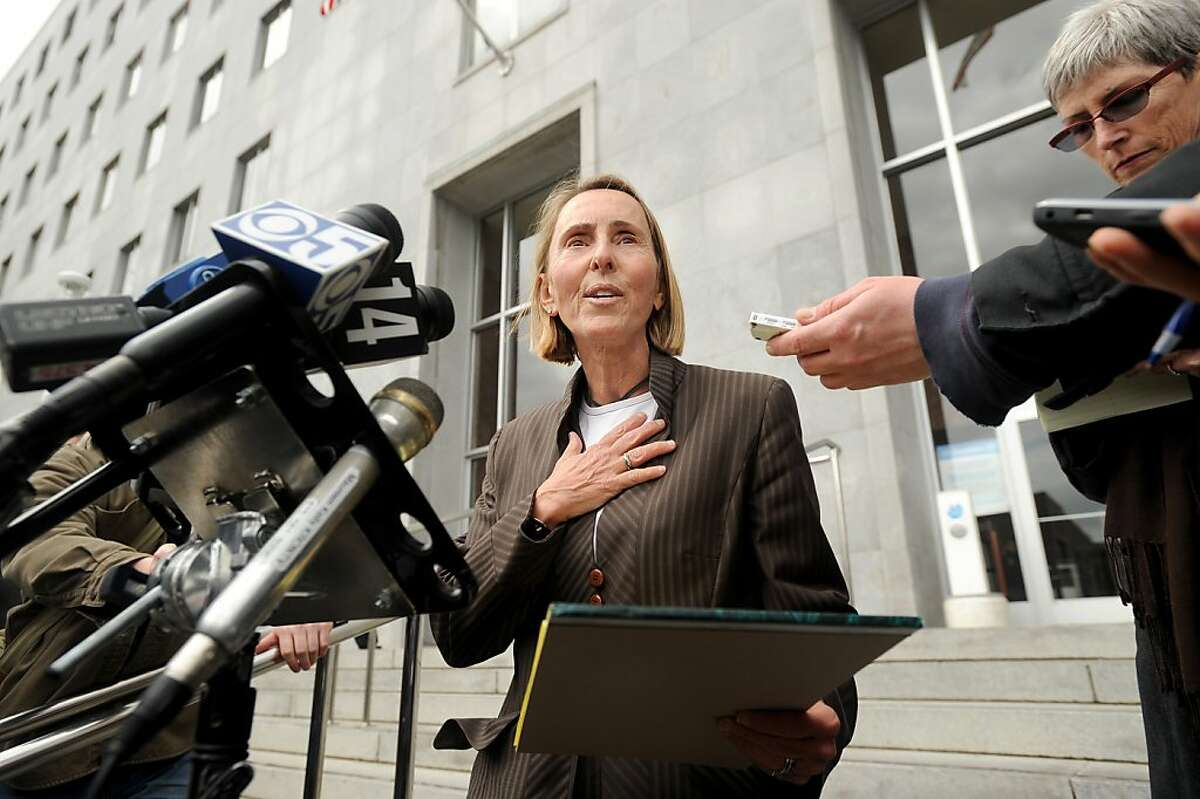 Paula Canny, an attorney representing Eliana Lopez, speaks to reporters outside the Hall of Justice on Monday, March 12, 2012, in San Francisco. Earlier in the day, Lopez's husband Sheriff Ross Mirkarimi pled guilty to a misdemeanor charge of false imprisonment stemming from an incident at the couple's home.