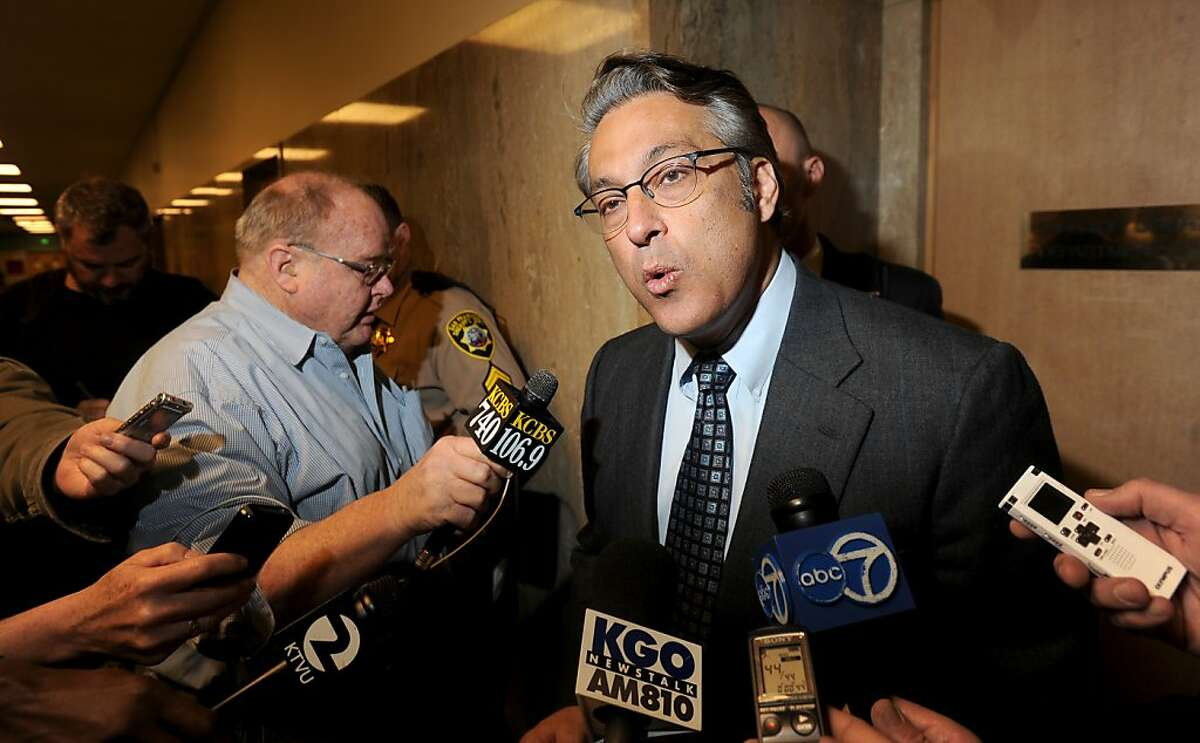 San Francisco Sheriff Ross Mirkarimi leaves court after pleading guilty to a misdemeanor charge of false imprisonment on Monday, March 12, 2012, in San Francisco. In exchange for the plea, prosecutors dropped a domestic violence charge and two other misdemeanor counts stemming from a New Year's Eve incident at Mirkarimi's home.