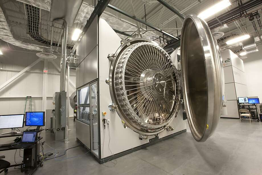 The Twin Creeks Technologies' Hyperion 3 operates as a particle accelerator which energizes protons with 1.2 million volts of electricity and fires them into silicon wafers to produce solar cells. Photo: Twin Creeks Technologies