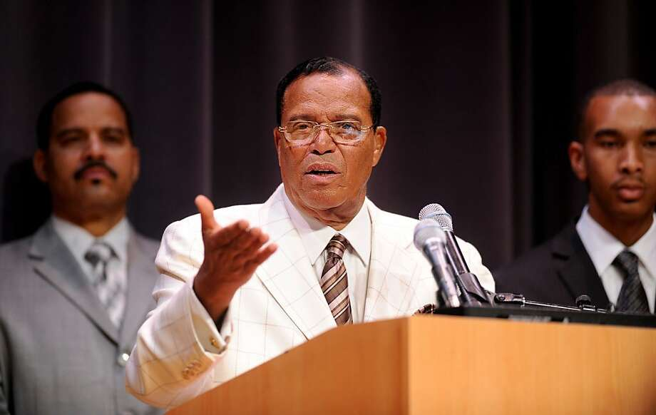 Nation of Islam Minister Louis Farrakhan speaks to students gathered at the University of California, Berkeley for the Afrikan Black Coalition Conference on Saturday, March 10, 2012, in Berkeley, Calif. Flanking Farrakhan are his son Mustapha Farrakhan, left, and Salih Muhammed, chair of the University of California, Berkeley's Black Student Union. Photo: Noah Berger, Special To The Chronicle