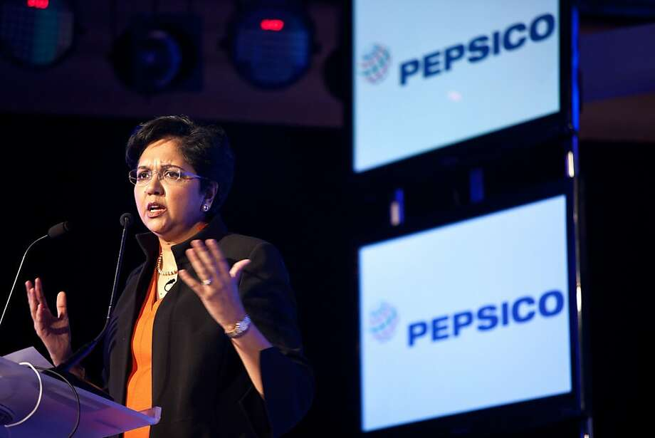 Indra Nooyi, chief executive officer of PepsiCo Inc., gestures while speaking at the AdAsia conference in New Delhi, India, on Thursday, Nov. 3, 2011. PepsiCo is the world's largest snack-food maker. Photographer: Graham Crouch/Bloomberg *** Local Caption *** Indra Nooyi Indra Nooyi, chief executive officer of PepsiCo Inc., gestures while speaking at the AdAsia conference in New Delhi, India, on Thursday, Nov. 3, 2011. PepsiCo is the world's largest snack-food maker. Photographer: Graham Crouch/Bloomberg *** Local Caption *** Indra Nooyi Photo: Graham Crouch, Bloomberg