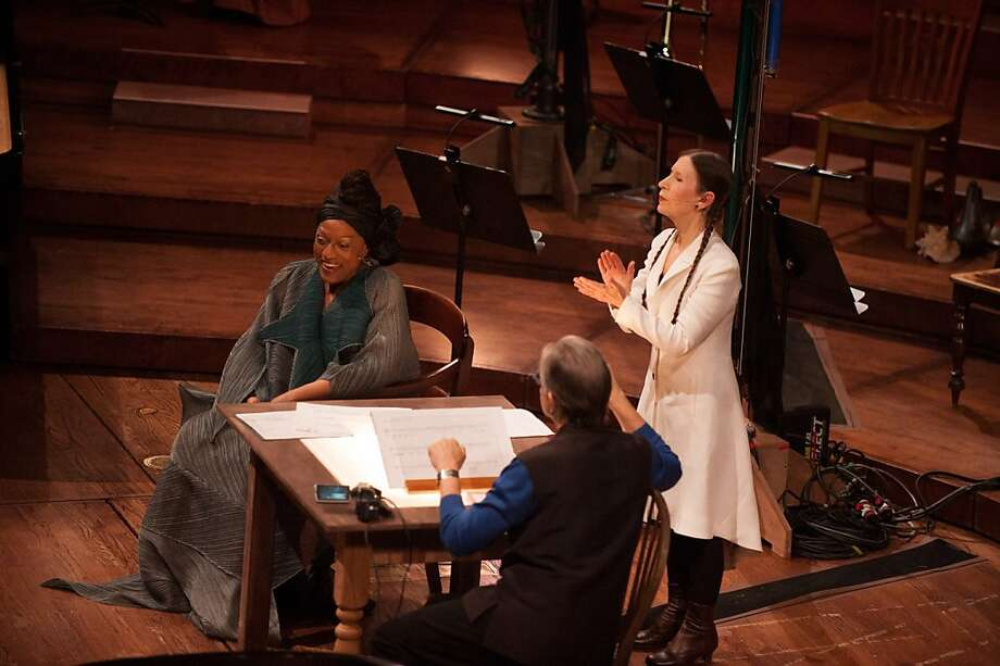 "Jessye Norman (l.) Michael Tilson Thomas and Meredith Monk performing John Cage's ""Song Books"" in Davies Symphony Hall Photo: Kristen Loken"