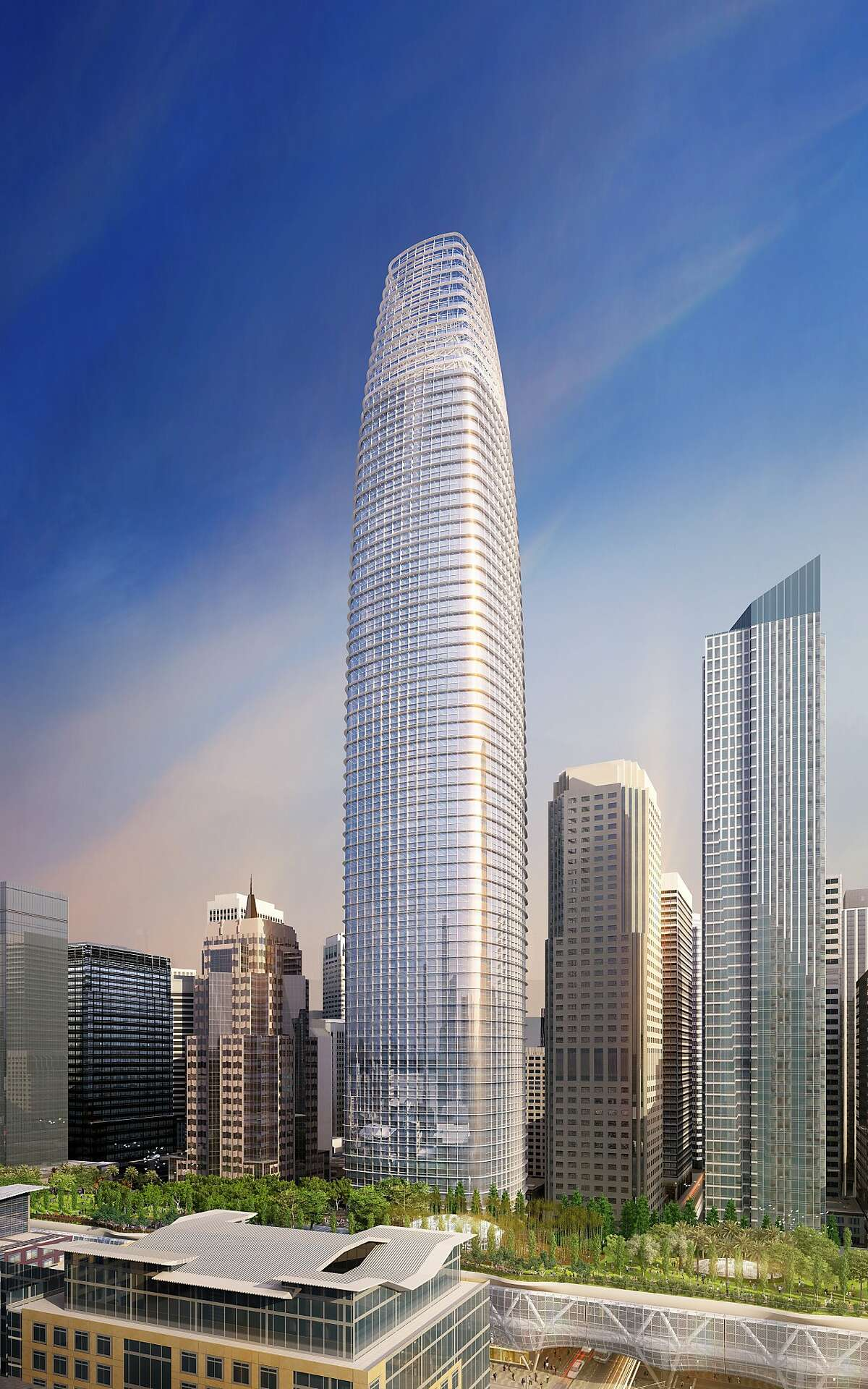 The proposed Transbay Tower at First and Mission streets calls for a 1,070 foot high building -- more than 200 feet taller than the Transamerica Pyramid, now San Francisco's tallest building. The top 150 feet are hollow.