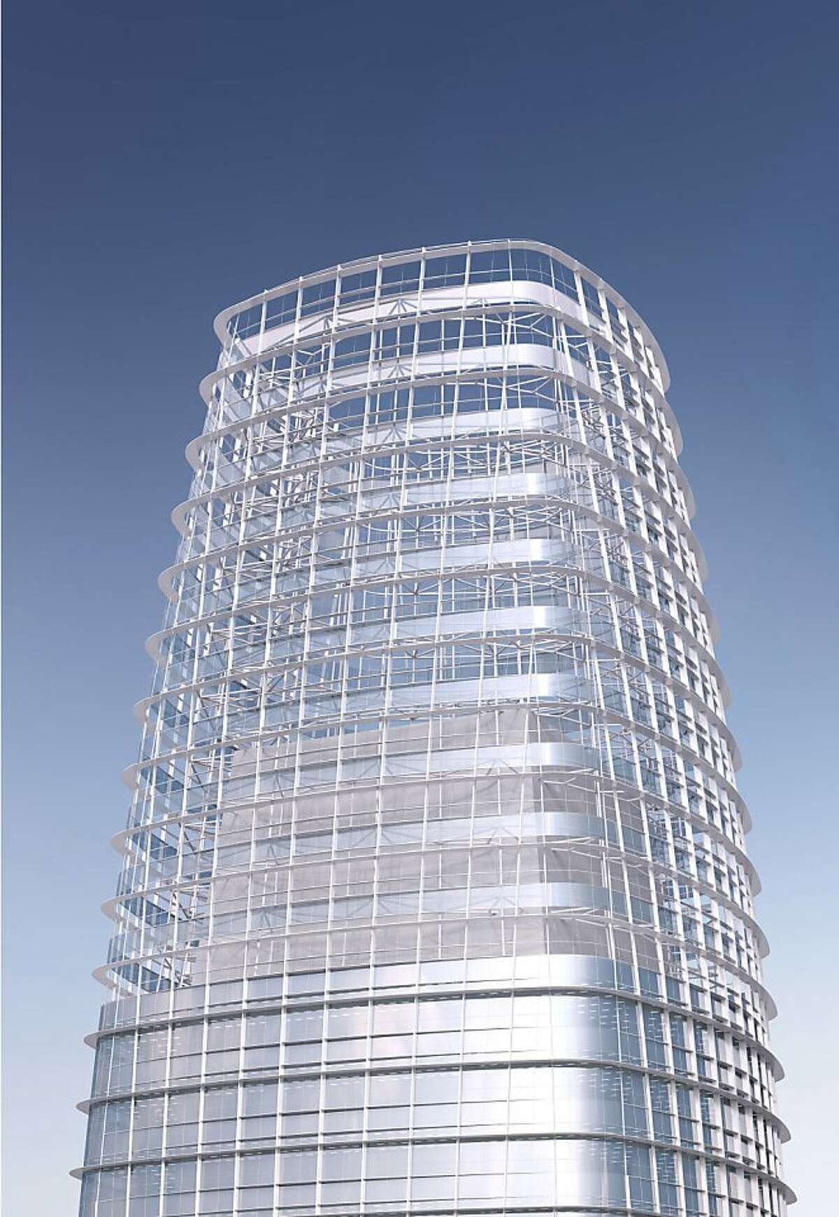 The proposed Transbay Tower culminates in a 150-foot